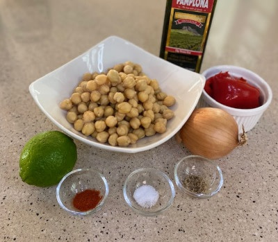 ingredients for hummus without tahini recipe