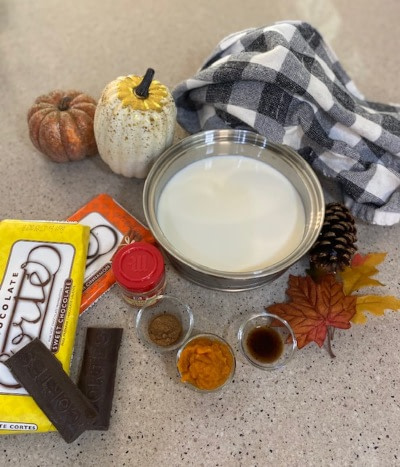 Ingredients used in the pumpkin pie spice hot chocolate recipe