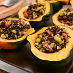 Savory Vegan Stuffed Acorn Squash Recipe with Wild Rice