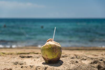 Fresh coconut with straw on the beach